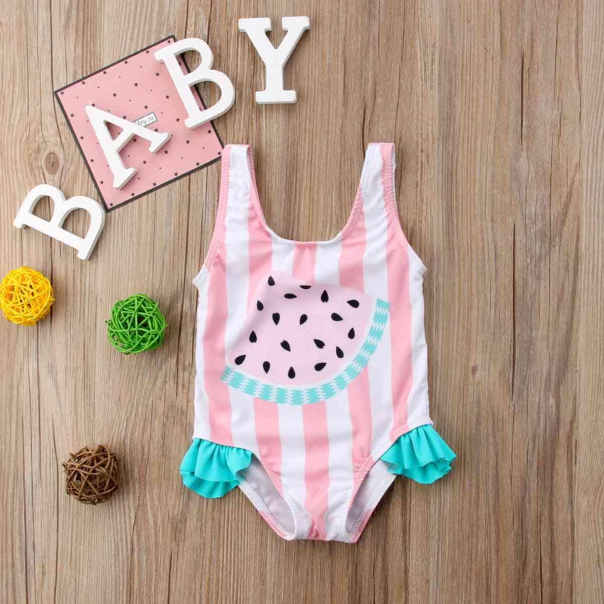 Newborn Baby Girl Swimwear, Watermelon Striped Swimsuit Swimming