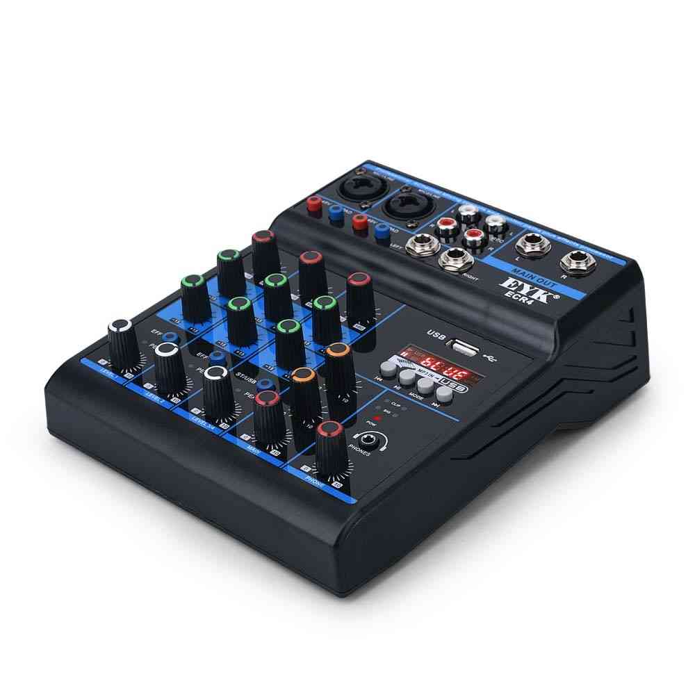 Portable Audio Mixer With Sound Card - 4 Channel Stereo Mixing Console Bluetooth Usb