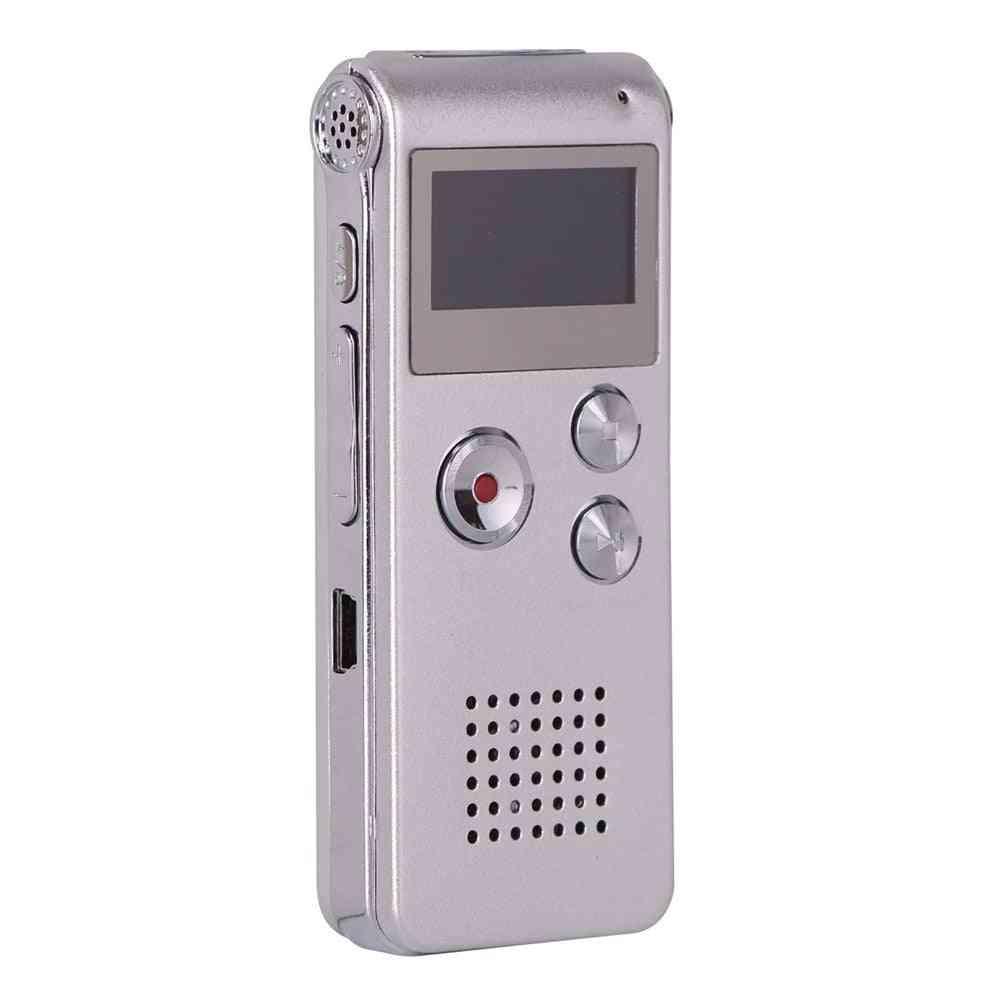 Rechargeable Steel 8gb Voice Recorder, Dictaphone And Mp3 Player