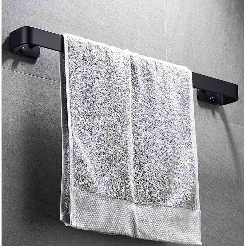 Solid Space Aluminum Wall Mounted Single Towel Bar, And Rack Holder