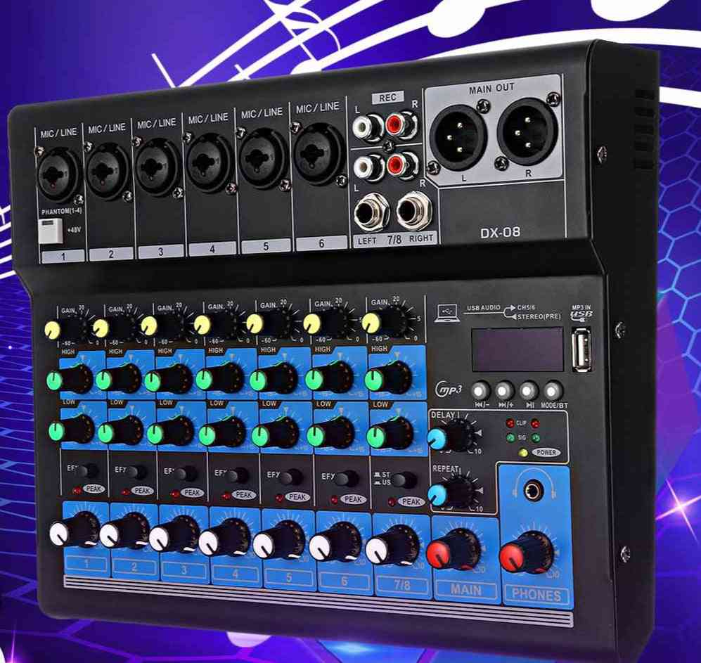 8 Channel Digital Audio Mixing Console With Power Cable Adapter