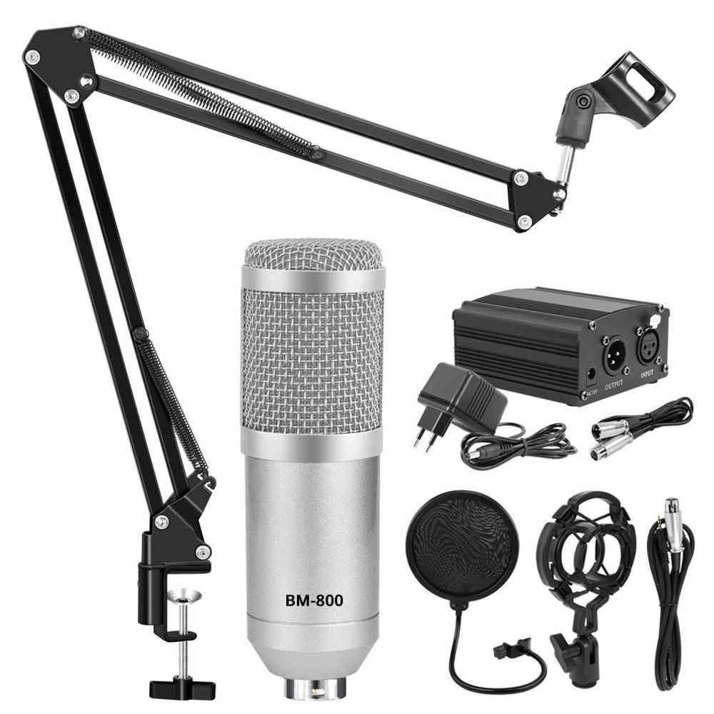 Microfono Studimicrophone Kits Condenser Bundle Stand -karaoke Mic Pop Filter Phantom Power