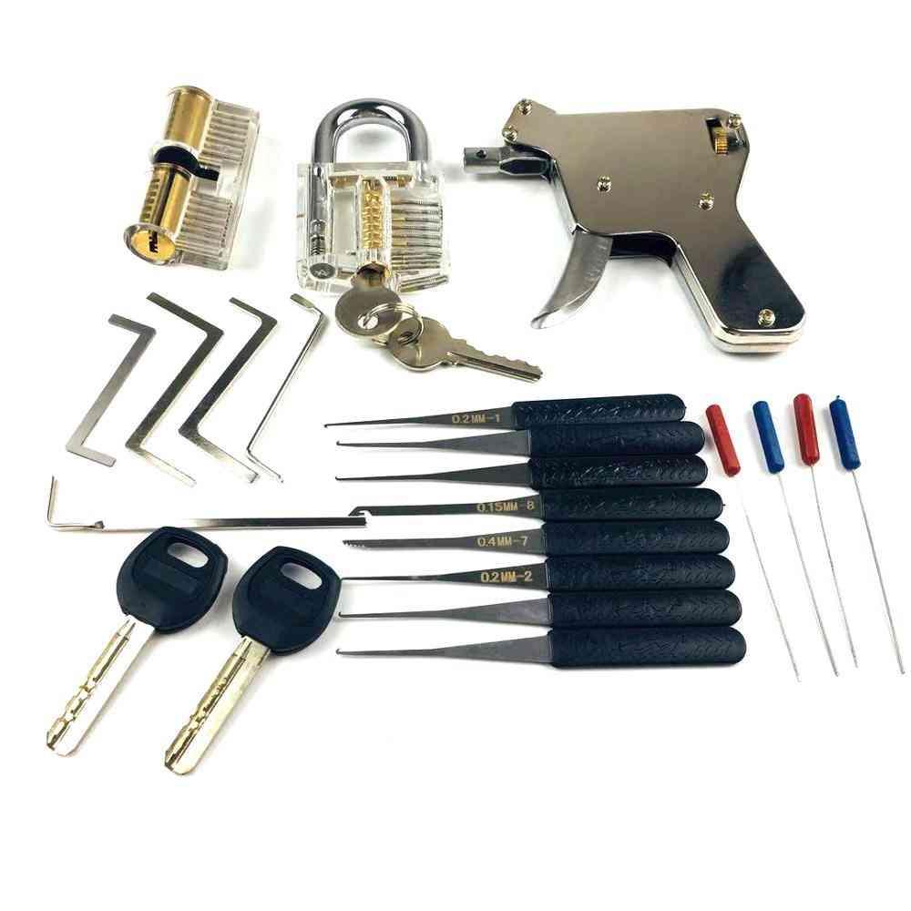 New Locksmith Tools,lock Gun With Transparent Practice Broken Key Extractor