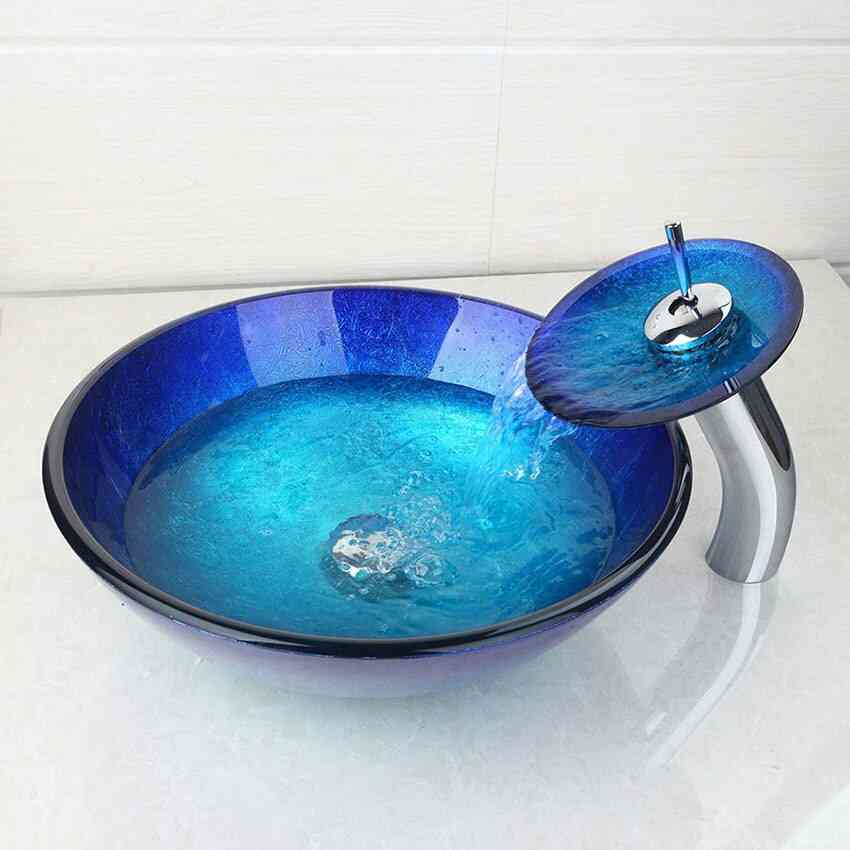 Tall Basin Tap+bathroom Sink Washbasin - Tempered Glass, Hand-painted Waterfall, Bath Brass Set