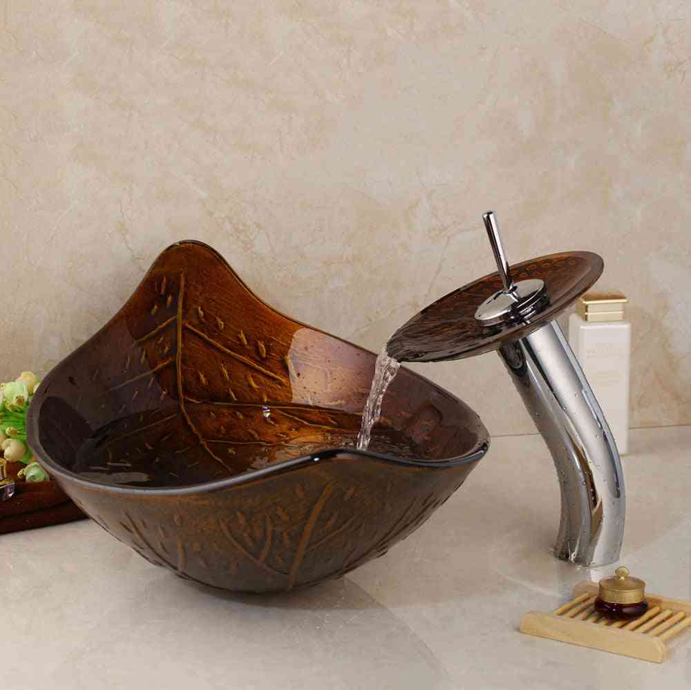 Leaf Art Washbasin With Waterfall Faucet-tempered Glass Sink Set