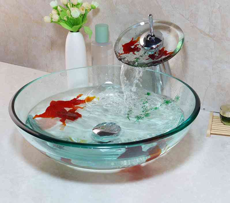 Tempered Glass Bathroom Vessel Sink And Waterfall Faucet Set