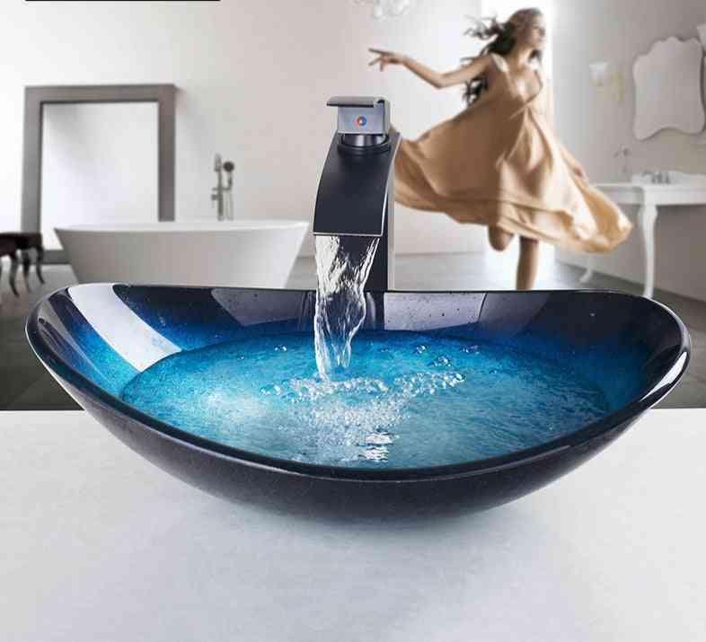 Counter Top Round Sink And Waterfall Faucet Set