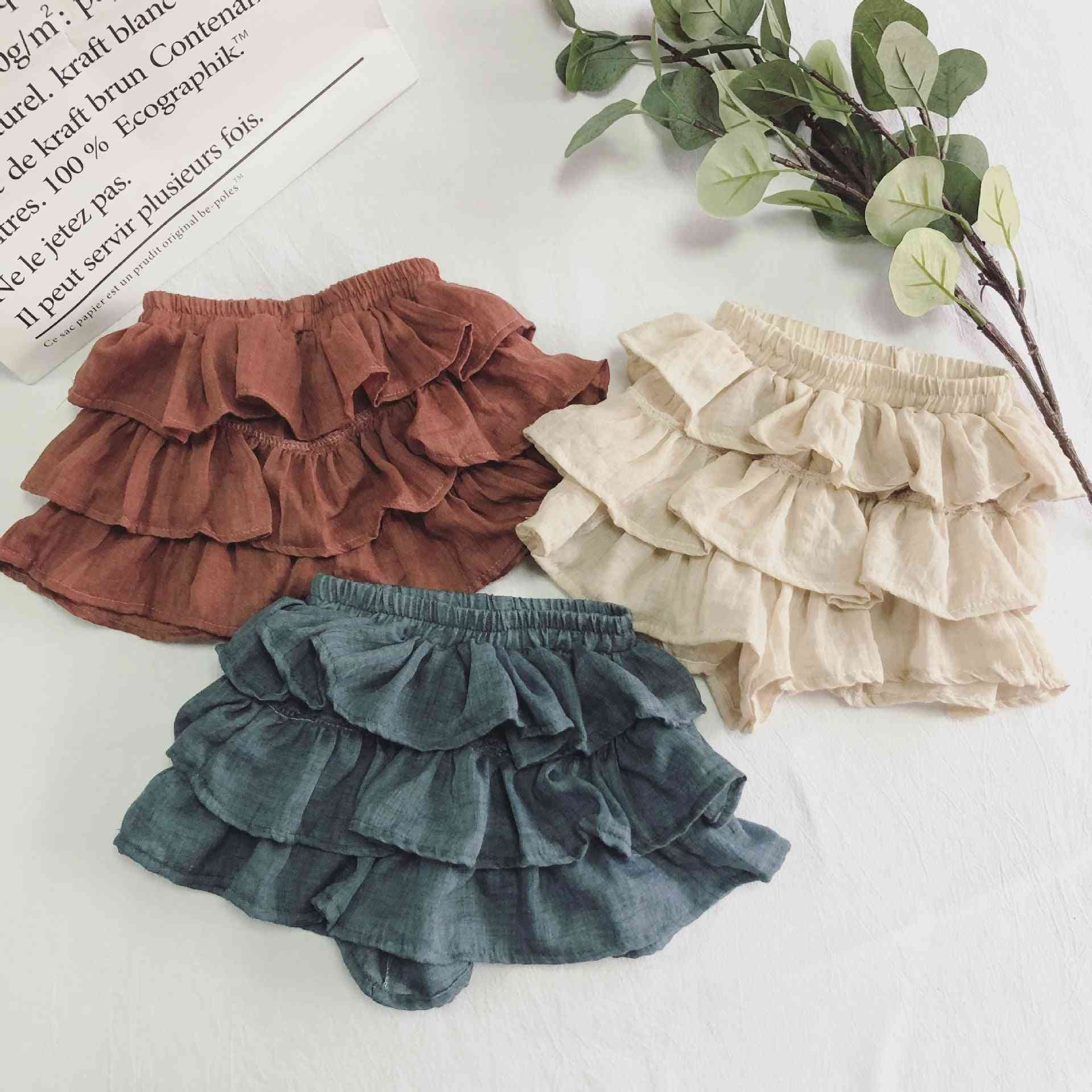 Short Cotton Skirt With Elastic Waist For