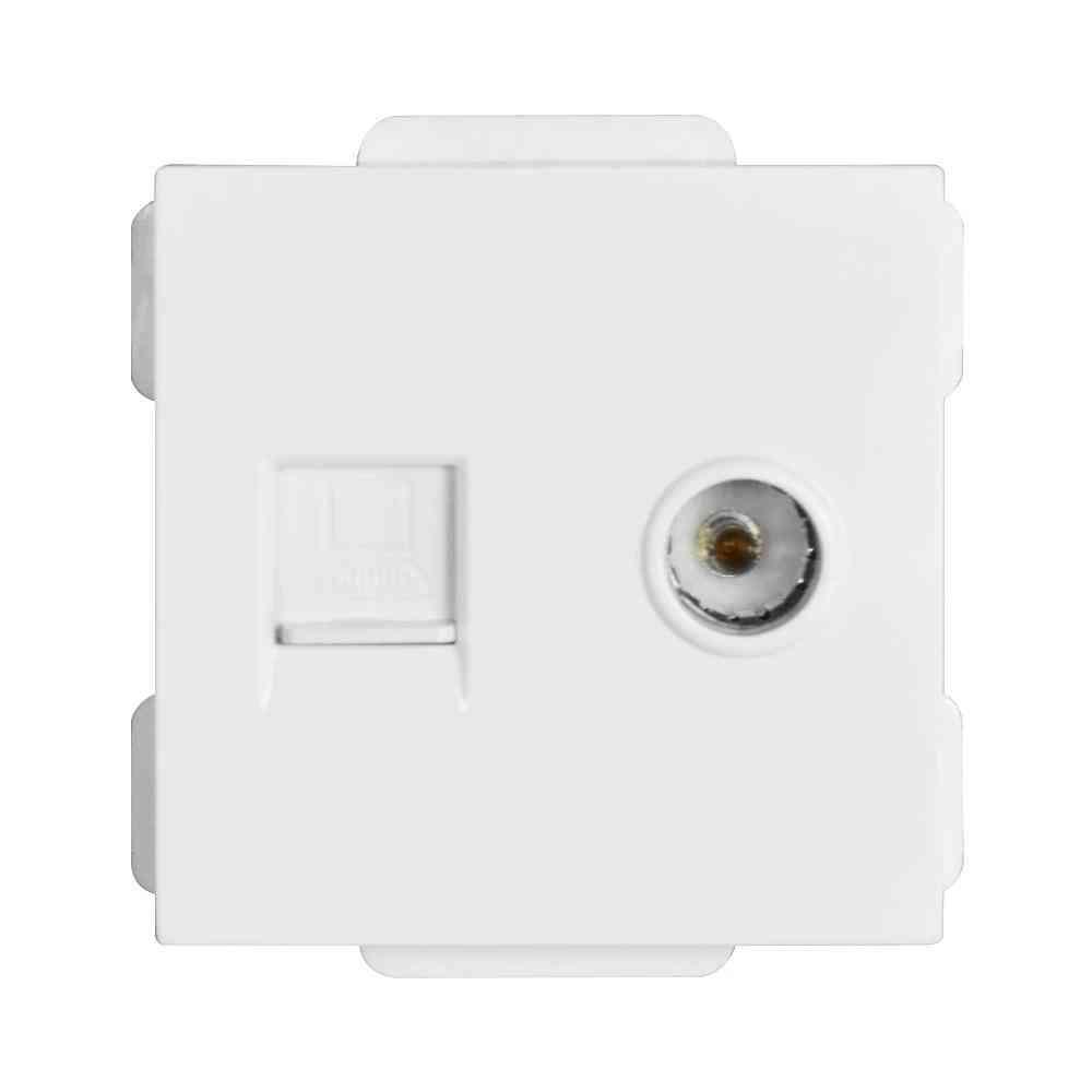 52*52mm Tv & Internet Socket Function Module Accessories Suitable For 86*86 Panels