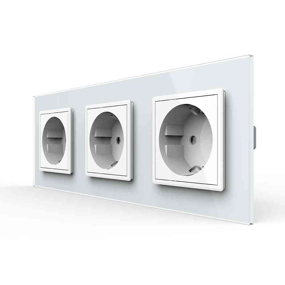 Eu Standard Power Socket Outlet Panel Triple Without Plug Toughened Glass