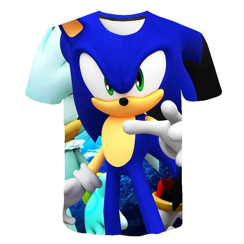 Cartoon Print Sonic Hedgehog T Shirt Streetwear Clothes, O-neck Set-3