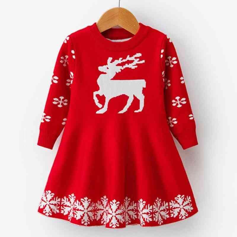 Long Sleeve Deer Snowflake Print Dress, Costume Girl