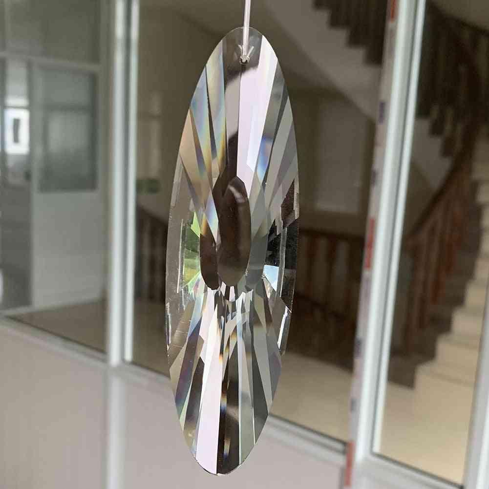 Faceted Glass Crystal Suncatcher Reiki Prism Hanging Pendant, Mobile Decor Art