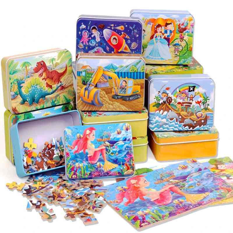 Wooden Puzzle Cartoon Animal, Child Early Educational Learning For