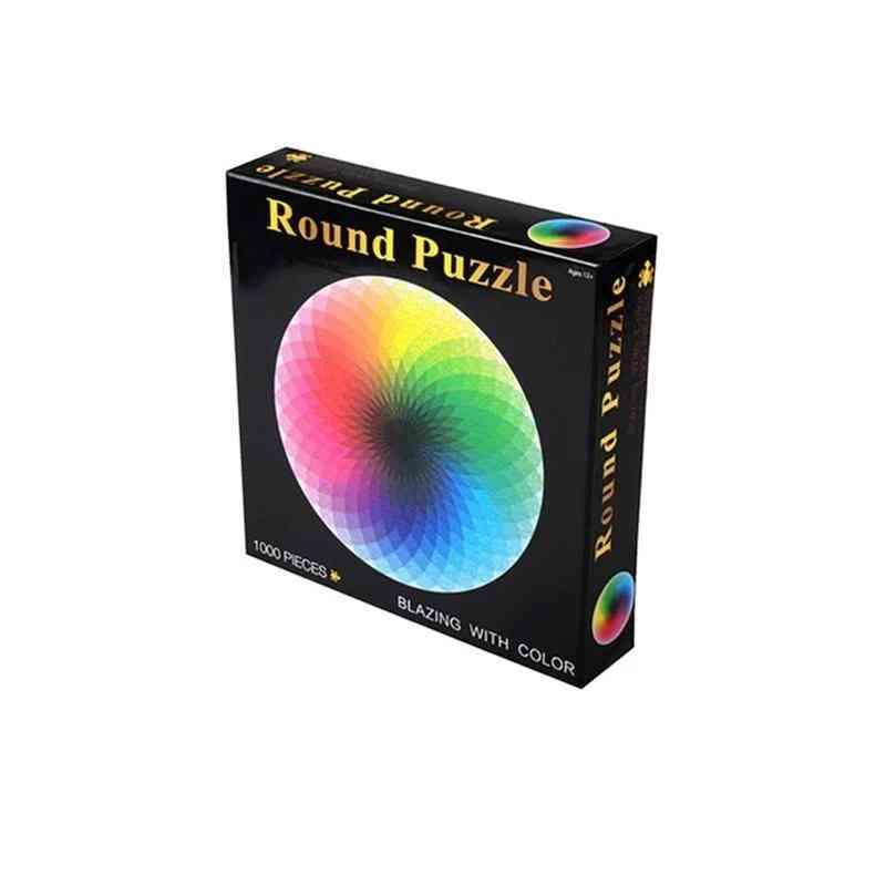 Colorful Rainbow Round Geometrical Photo Puzzle-educational Toy