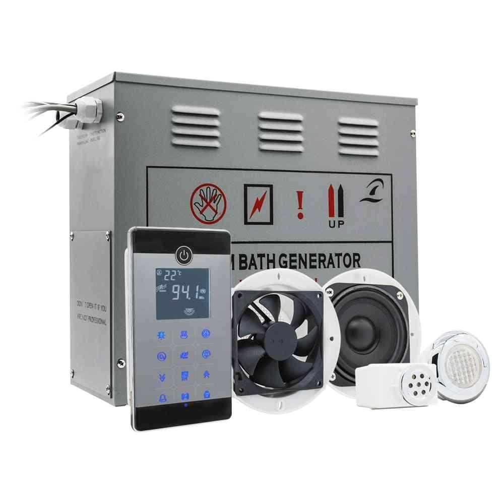 240-380v 9kw Temperature Sensor Steam Time Setting Shower, Sauna Brass Auto Drain Ipx5 Waterproof Remote Control