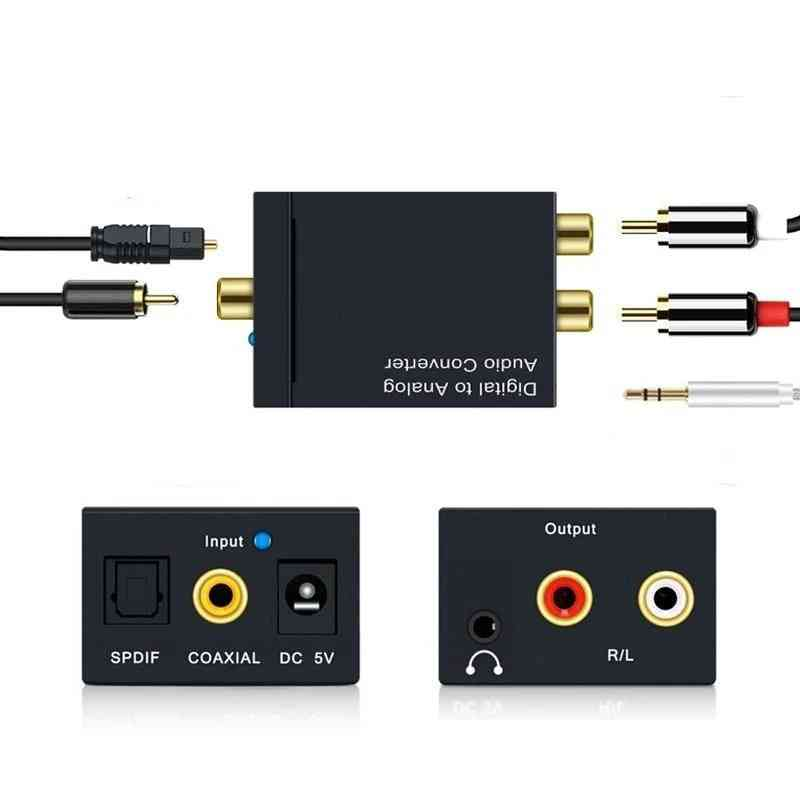 Digital To Analog Audio Converter With Toslink And Usb Power Cable