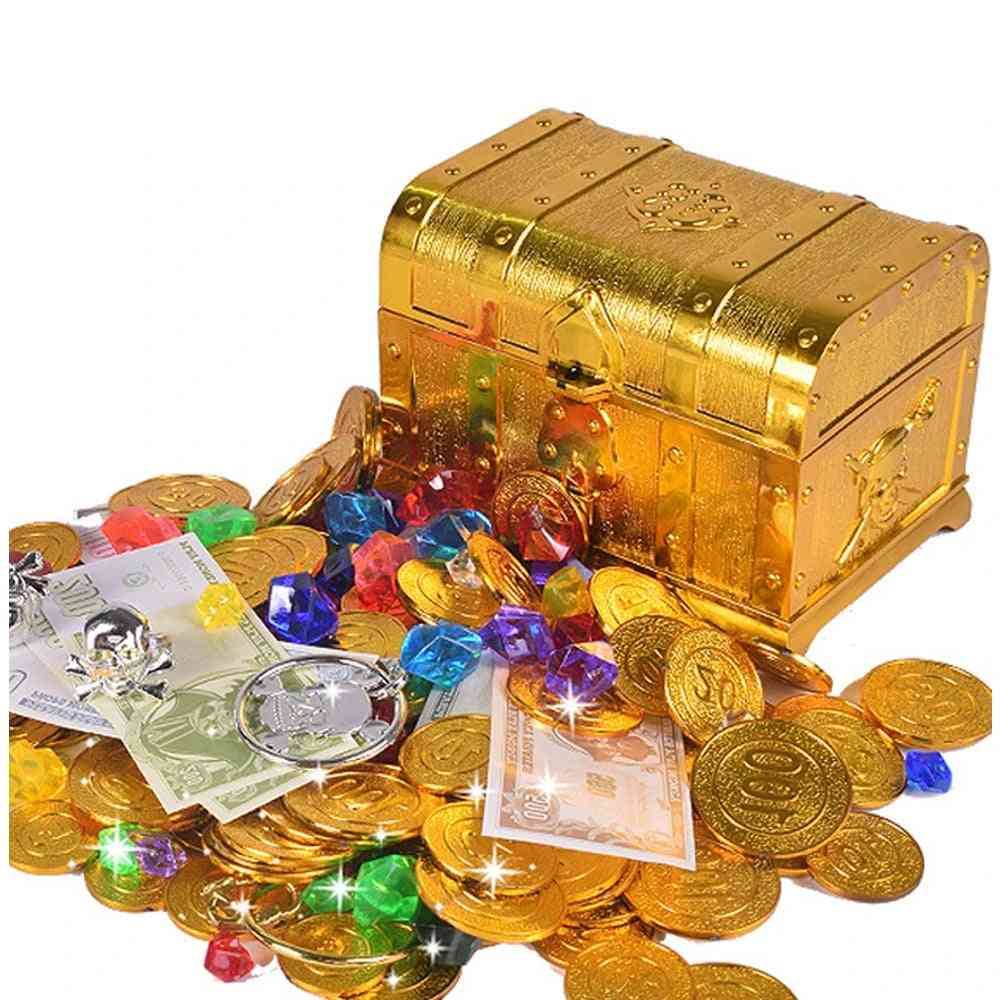 Plastic Gold Treasure Coins, Captain Pirate Party Chest, Child Toy