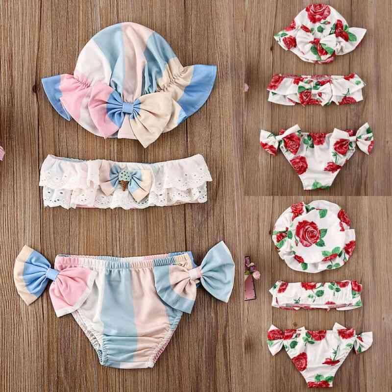 3pcs Of  Newborn Baby Summer Swimsuit -floral Print Bikini Sets