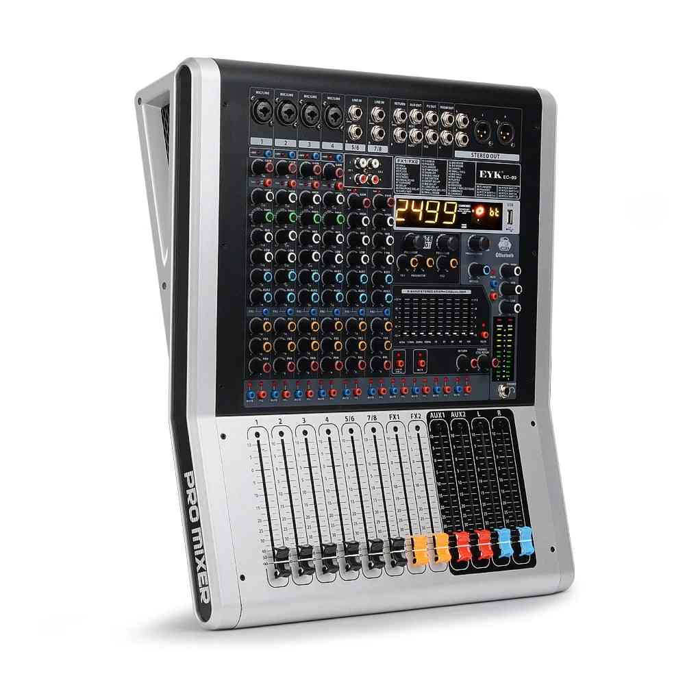 Channel Audio Mixer With Band, Dual Effects Usb Bluetooth Aux Recording Rca Inputs