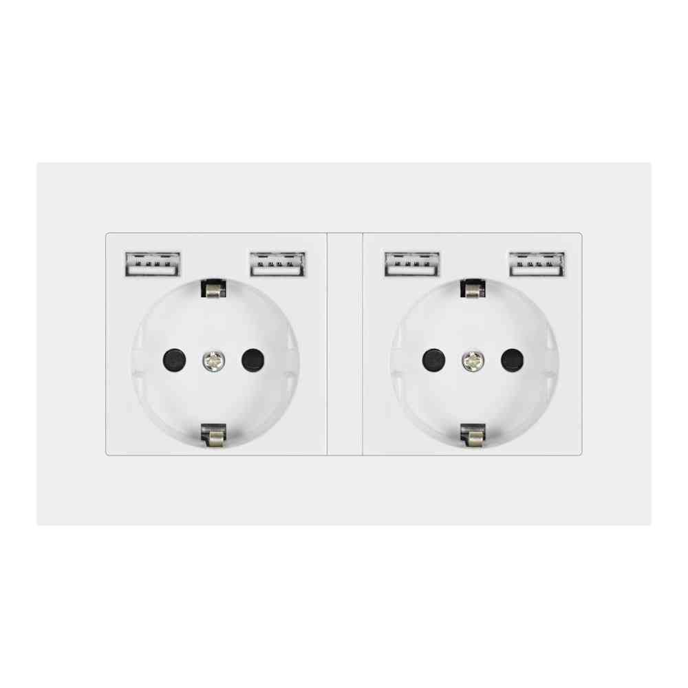 2 Gang Wall Socket Plug With Usb Outlet Strip For Pc Panel