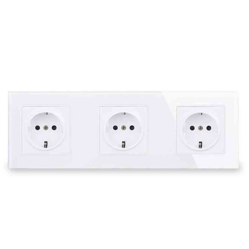 Wall Crystal Glass Panel 3 Gang Power Socket Plug Grounded, Electrical Triple Outlet