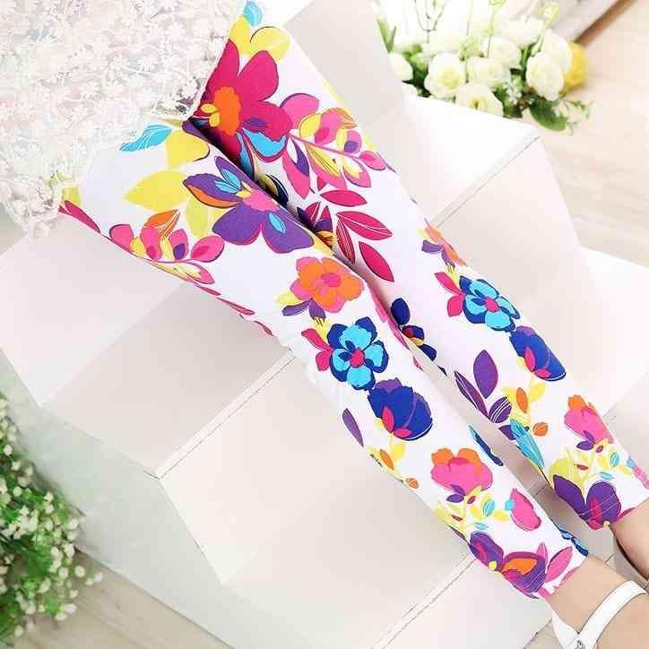 Soft Leggings, Pencil Pants Flower Print For Set-2