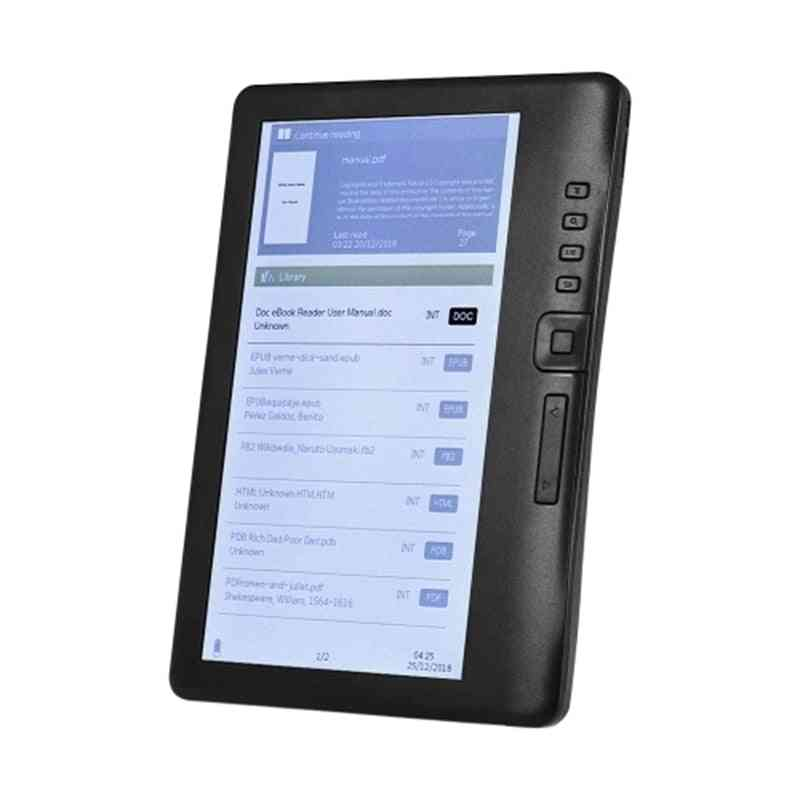 7 Inch 800 X 480p Portable E-reader, Built-in 4gb Memory Storage And 2100mah Rechargeable Battery