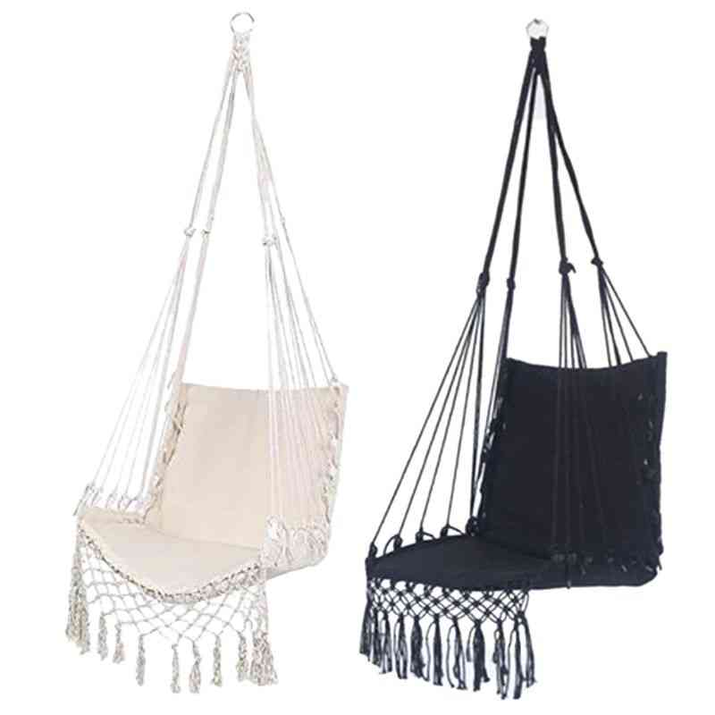 Safety Beige Hanging Hammock Chair, Swing Rope Seat