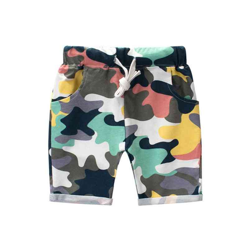 Children Printing Camouflage Shorts, Casual Straight Elastic Waist Pant