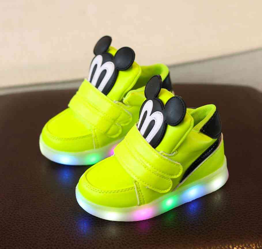 Cartoon Mickey Mouse Pattern, Casual Shoes With Led Light For Kids