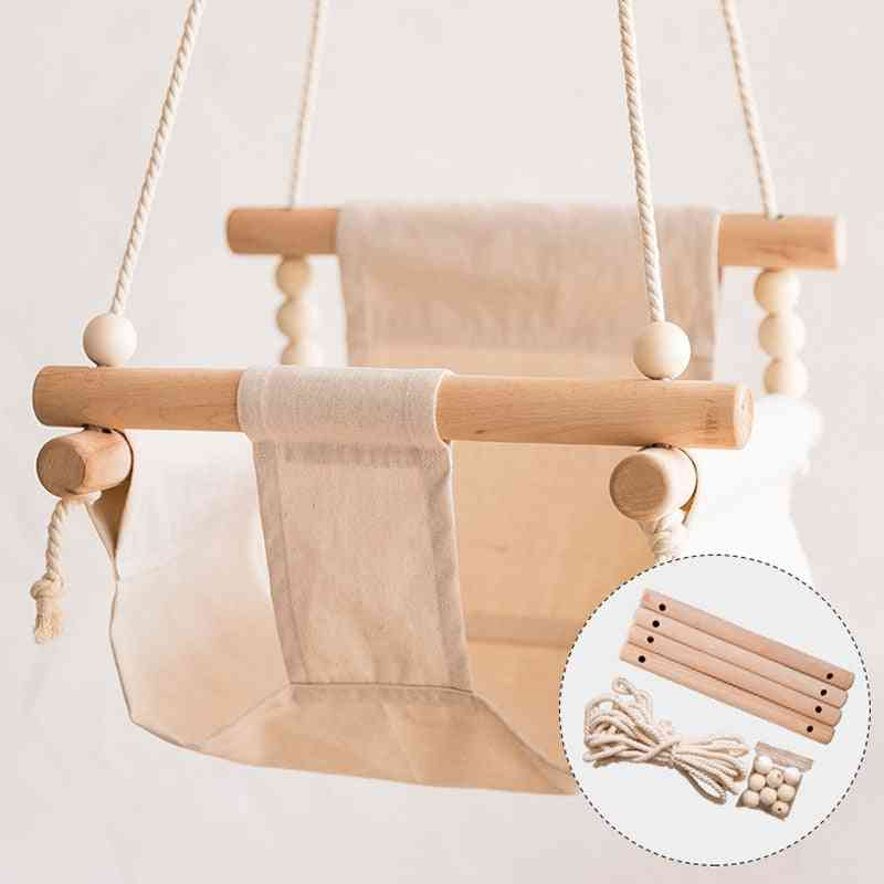Wooden Canvas Hanging Rocking Chair-hammock Swing Toy