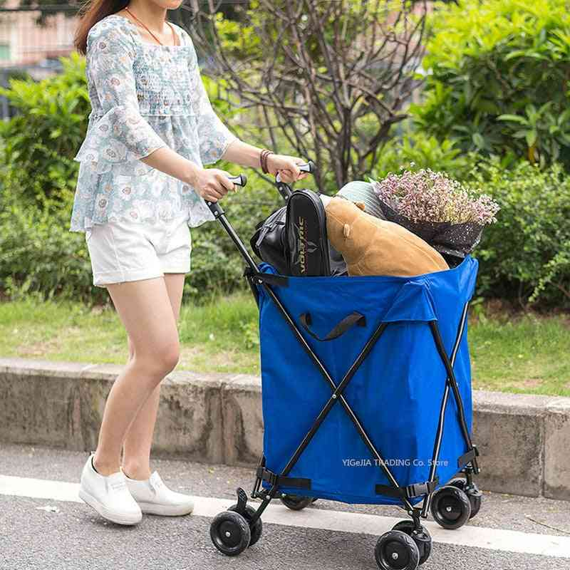 Folding Trolley With Oxford Bag, Sturdy Steel Frame Utility Grocery Cart