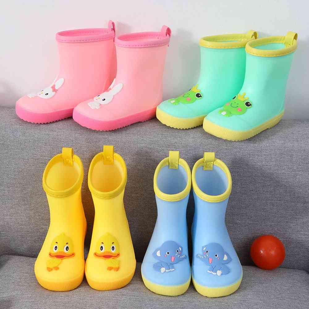 Mid-calf, Pvc Rubber, Cartoon Design-waterproof Rain Boots For Toddlers