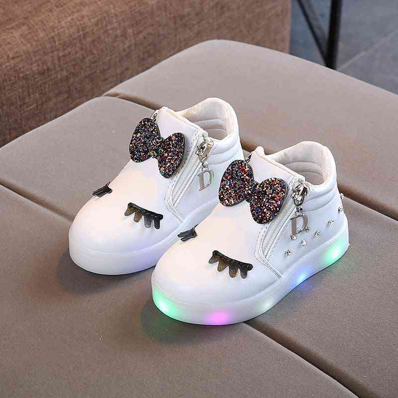 Children Glowing Sneakers Princess Bow For Led Shoes