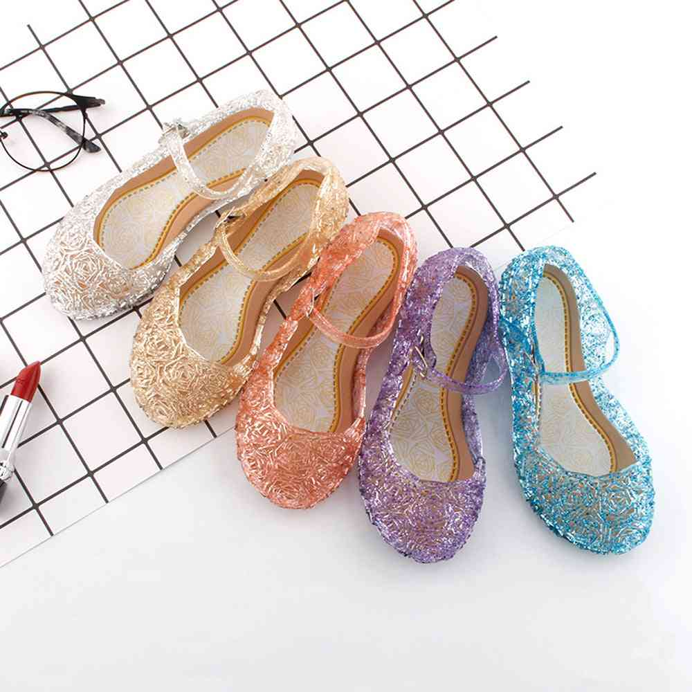 Girls Crystal Jelly Sandals, Princess Cosplay Dance Shoes