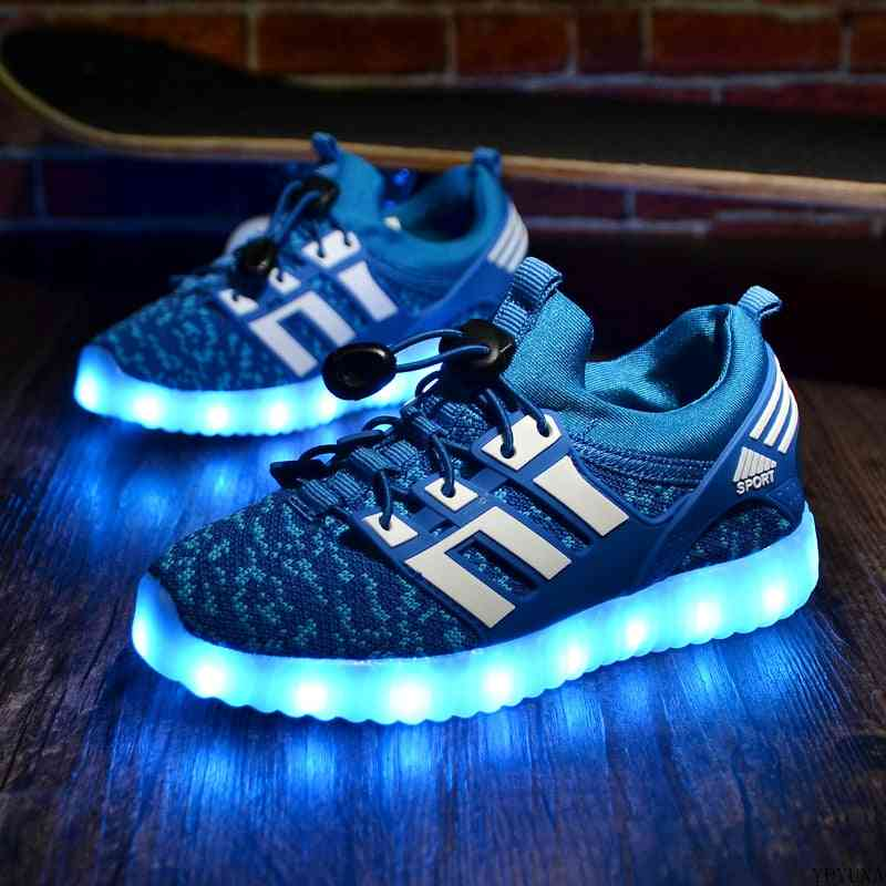 Kid's Usb Luminous Sneakers, Glowing Lights Up Shoes With Led