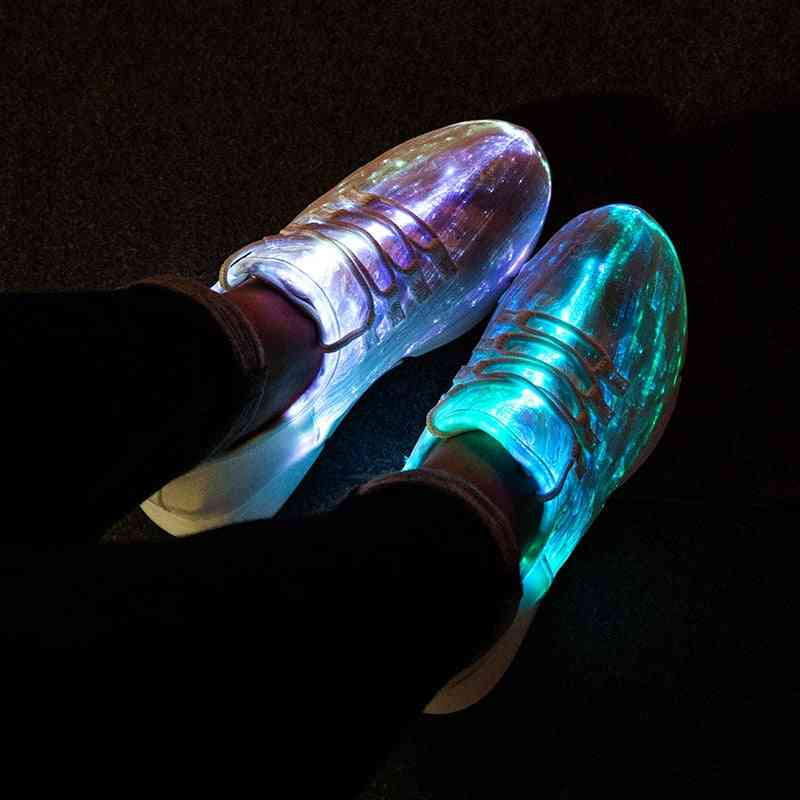 Led Fiber Optic Shoes For Kids-usb Recharge Glowing Sneakers