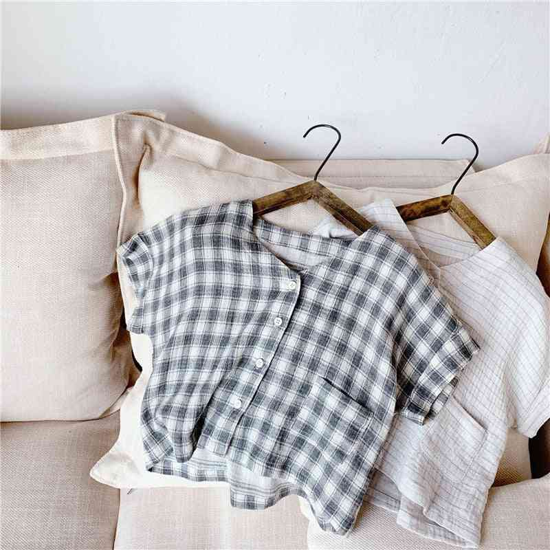 Plaid Shirts, Korean Style Clothes -soft Breathable Tops