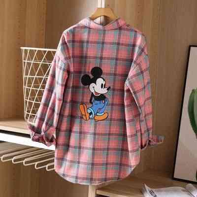 Back Retro Printing Mickey Mouse Plaid Shirt -female Blouse