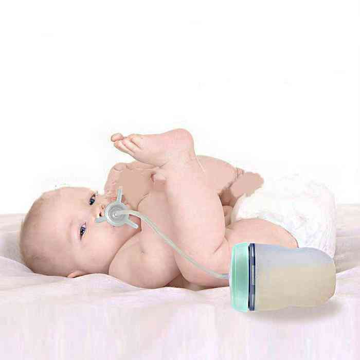 Silicone Sippy Straw Feeding Bottle For Babies