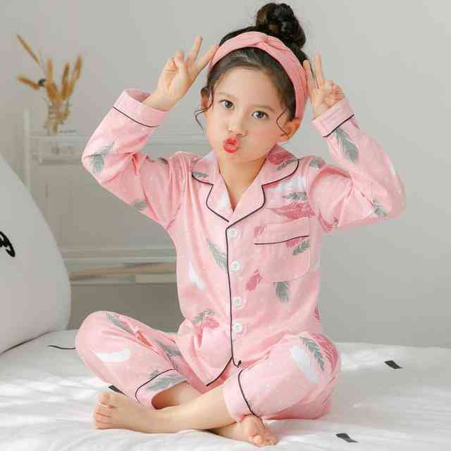Long Sleeve, Spring And Autumn-cotton Pajamas Set For