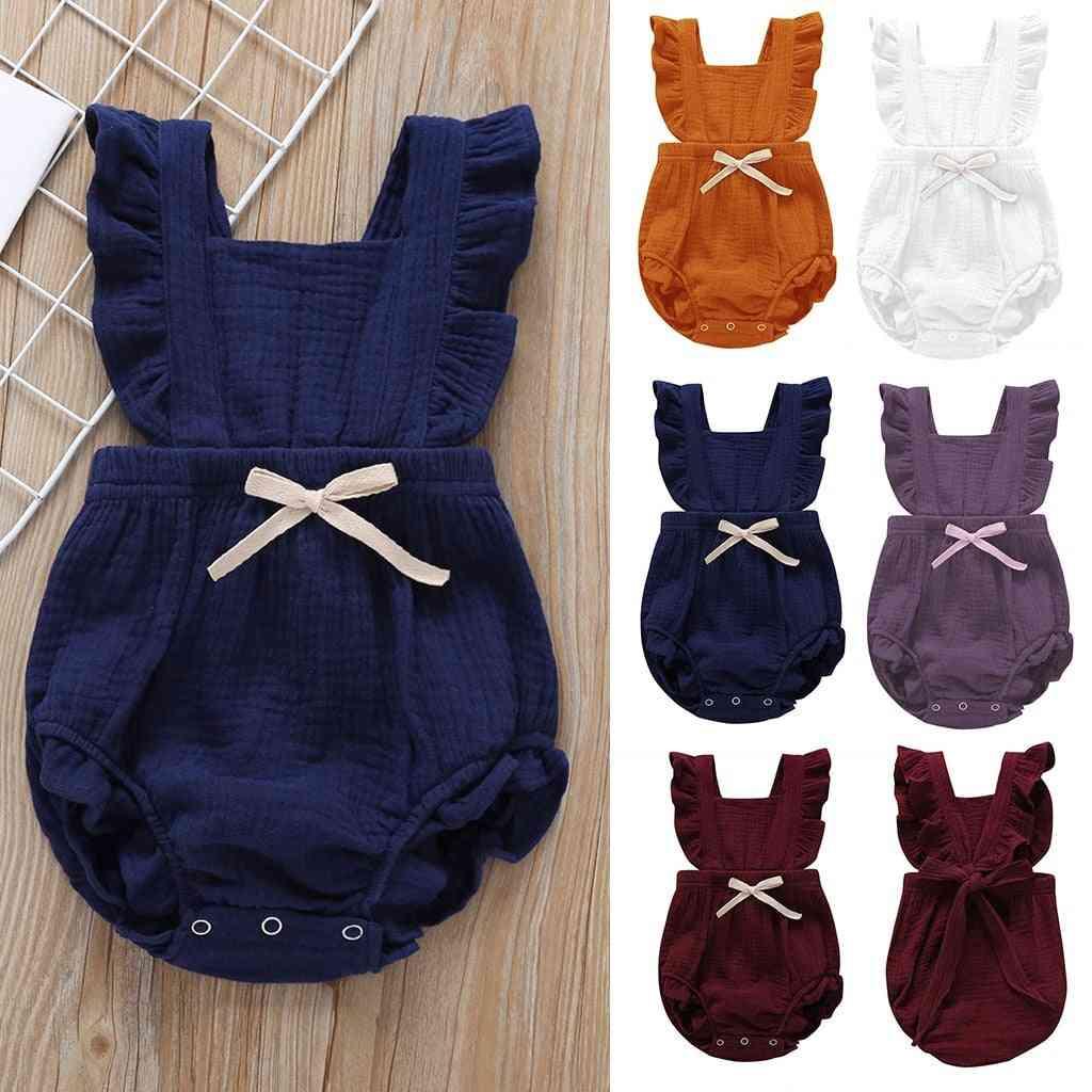 Newborn Baby Ruffle Design- Cotton Bow Romper