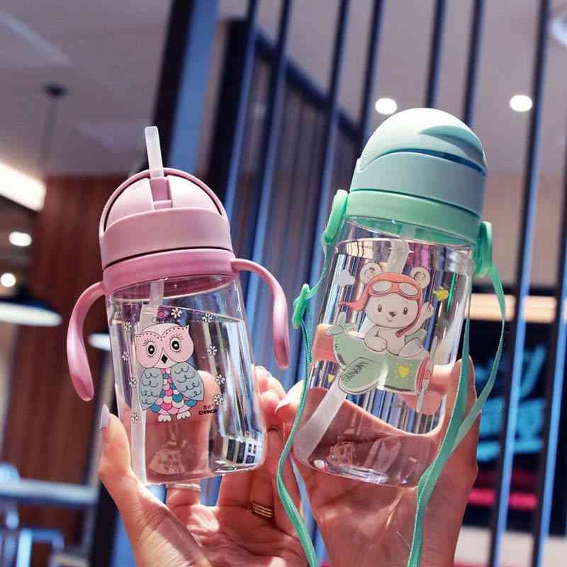 420ml Cartoon Animal Print, Drinking Water Straw Bottle For Kids