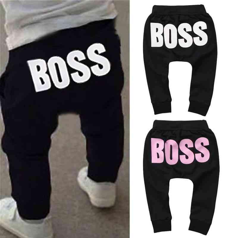 Boy & Girl Boss Letters Printed Pp Pants, Trousers Leggings