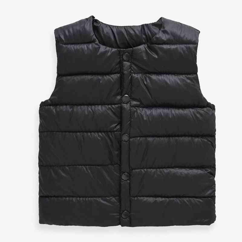 Boys Solid Round Collar Soft Warm Down Vest, Girl Sleeveless Winter Waistcoat