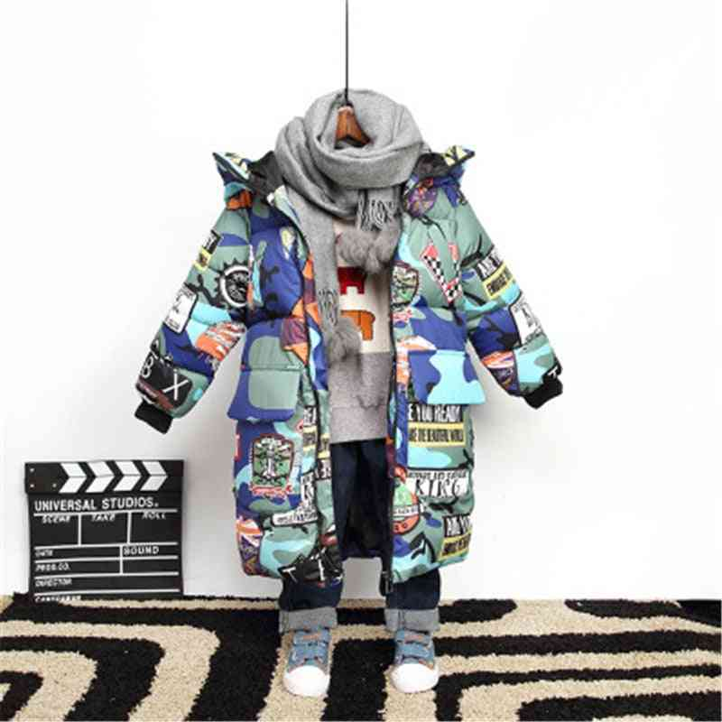 Graffiti Camouflage, Winter Long Hooded Jackets For Teenagers