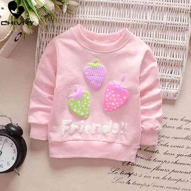 Children Hoodies Sweatshirts, Cartoon Rabbit Strawberry Cotton Pullover -clothes
