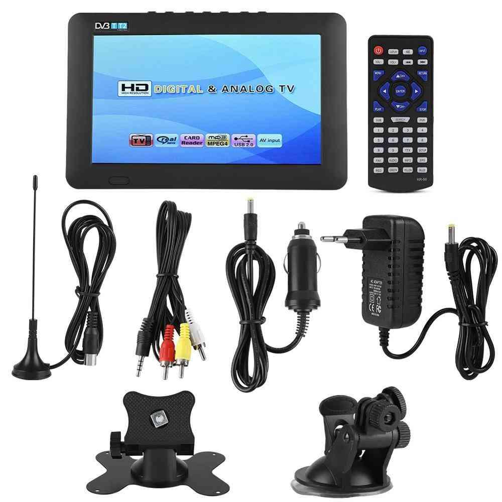 Portable Car Holder, Mini Dvb-t/t2 Digital Television With Stand Support 1080p Videos (eu Plug 110-240v)
