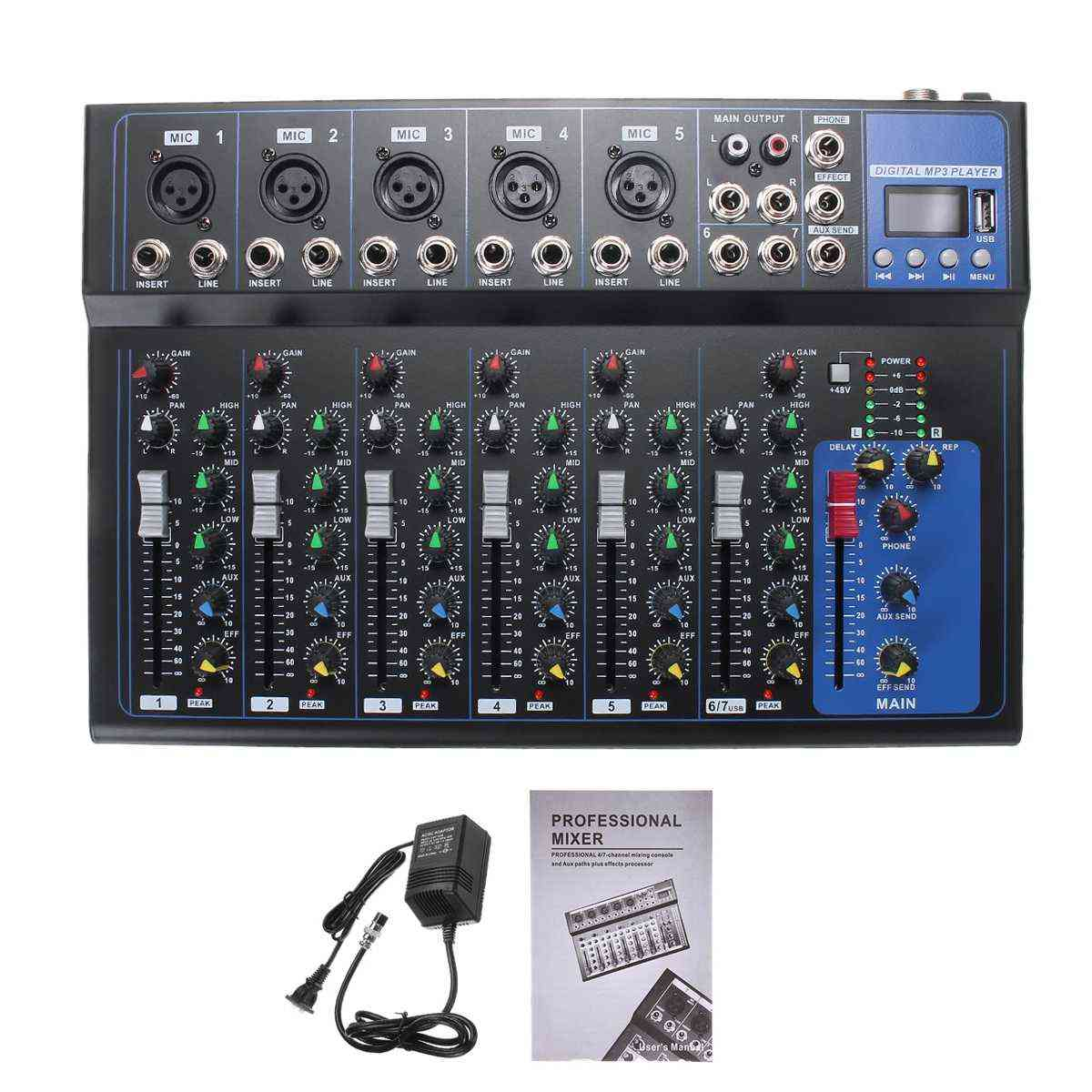 7 Channel Bluetooth Portable Audio Mixer Console